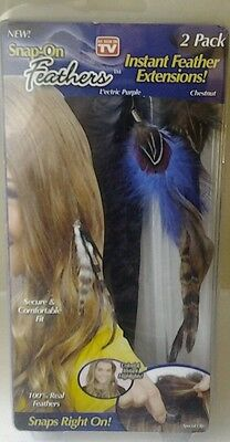 Brand New Snap On Instant Feather Extensions 1 L'ectric Purple 1 Chestnut