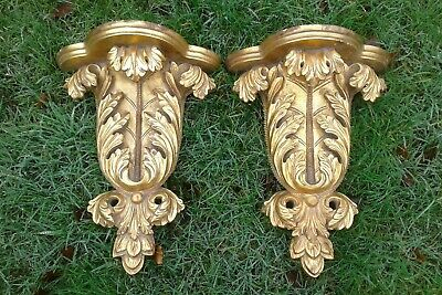 Antique French Carved Gilt Wooden Shelves Brackets ( pair )