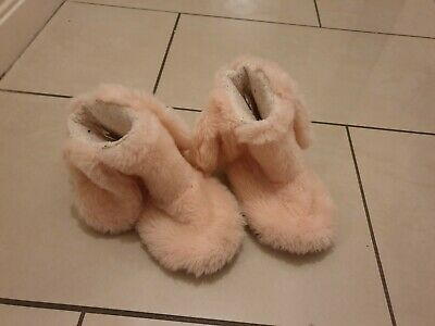 next girls pink fluffy boot slippers size 10