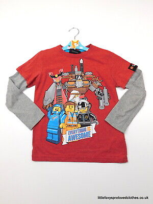 6 year Next boys top long sleeves LEGO red grey