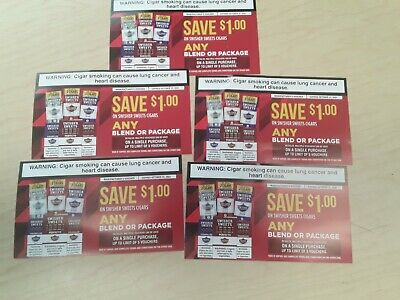 Swisher Sweets Cigar Coupons Vouchers $5 x $1.00 = $5.00 Total-Expires 10/31/21