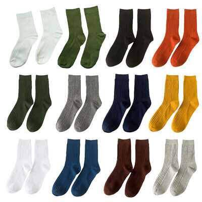Men Soft Cotton Sock Striped Pure Colors Business Tube Socks Sweat Absorption