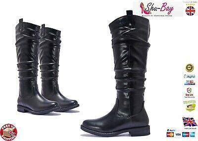COMFORT Womens Vegan Leather Comfy Knee Calf Slouch Slouchy Low Heel Boots Shoes