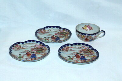 antique CHINA TEACUP & 3 SAUCERS ROSE FAMILLE hand painted China Japan ASIAN