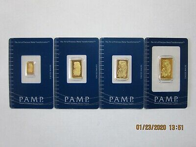 Pamp Suisse Gold fractional set 10g,5g,2.5g,1g in assay cards.
