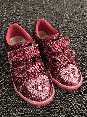 Lelli Kelly Girls Pink Sparkly Canvas Shoes Size 27 Infant 9 Lovely Condition