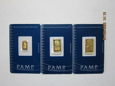 Pamp Suisse Gold fractional set  5g, 2.5g, 1g in assay cards.