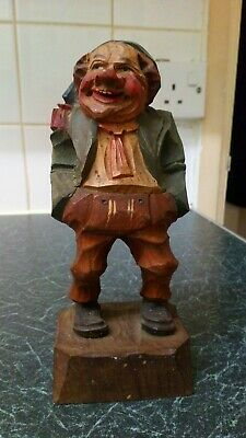 Vintage Hand Carved & Painted German Black Forest Bavarian Jolly Fat Man 18cm
