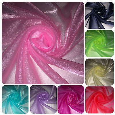 """1 MTR SPARKLING CRYSTAL ORGANZA VOILE,DECORATION,DRAPE FABRIC 45"""" WIDE £2.50 NEW"""