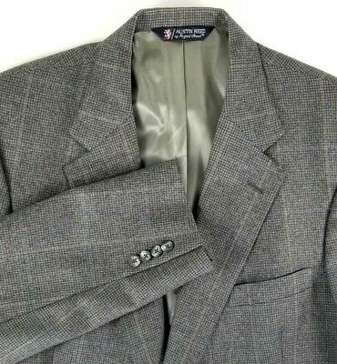 Austin Reed Sport Coat Size 44 Regular Gray Houndstooth Two Button 100% Wool