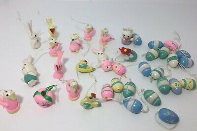 Vtg Miniature Easter Wood Ornament Figurines Handpainted Eggs Bunny Chicks 36pc