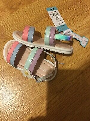 Girls Shoes Sandals, Size 5, Velcro, Rainbow