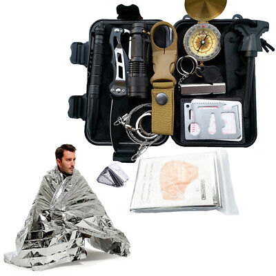 Outdoor Emergency Survival Gear Kit Camping Tactical Tools 13 in 1 SOS EDC Case