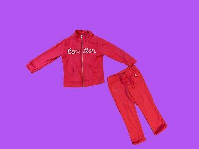 United Colours Of Benetton Size 3-4 Years Pink Tracksuit Two Piece Outfit Set