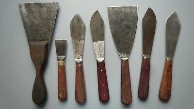 7 x Vintage Decorating Tools Scrapers Putty Knifes,  Job Lot old Hand Tools