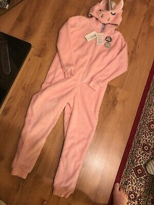 Girls Kids Age 11-12 Marks And Spencer Unicorn One Piece Bnwt New Pink  Pyjamas.