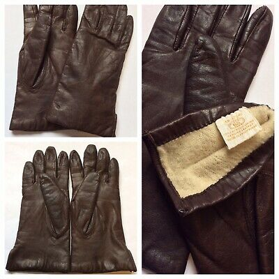 Women's Unbranded Leather Driving Gloves Dark Brown Soft Lining Size S / 6.5
