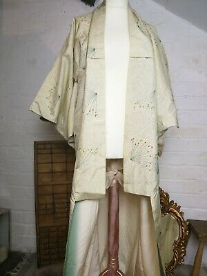 Vintage Long Kimono Art Deco Patterned Cream, Lined, Approx 144cm