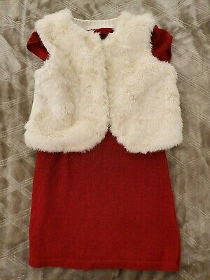 Next Red Sparkle Glitter Party Dress with H&M White Fur Gilet Girls Age 4 VGC