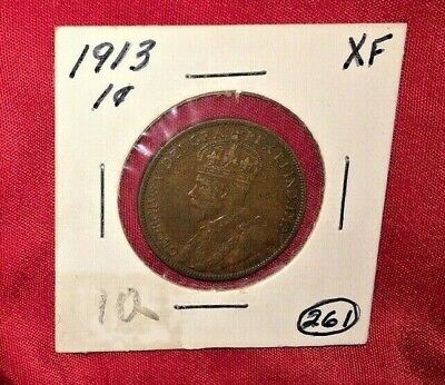 Canada  1913  Large  Cent  Coin.  Penny.      XF  Condition