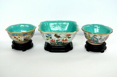 Trio of Antique Chinese famille rose porcelain bowls turquoise with wood stands