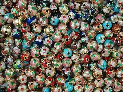 Cloisonne Beads 35pc Mix 8mm Round Jewellery DIY Jewelry Spacers FREE POSTAGE