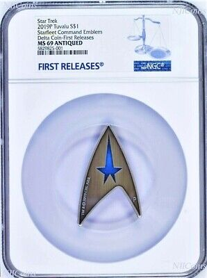 "2019 Star Trek STARFLEET COMMAND EMBLEM ""DELTA"" Antiqued Silver $1 Coin NGC MS69"