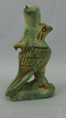 Ancient Egyptian Glazed Sacred Bird Falcon Horus Faience Amulet Museum Copy