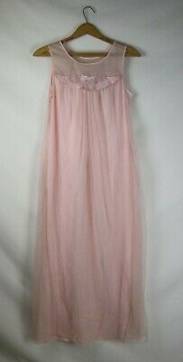 Vintage Light Pink Gilead Nightgown Dress Nylon Medium Floral Embroidered Sheer