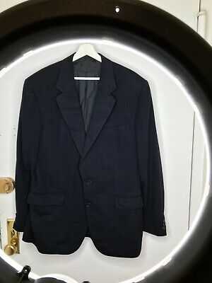 BERGDORF GOODMAN 44L 100% Cashmere Sports Coat Jacket Solid Navy Blue LUX SAINT