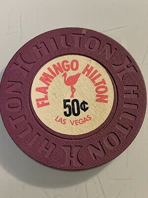 RARE FLAMINGO HILTON $.50 Casino Chip Las Vegas Nevada 3.99 Shipping