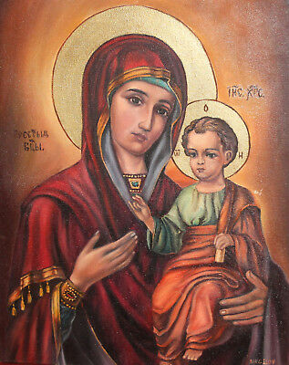 Religious oil painting Virgin Mary Christ child portrait signed
