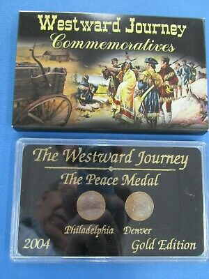 US 2004 Westward Journey Commemorative The Peace Medal Gold Edition 2 Coin Set