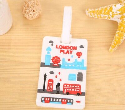 Silicone Cute Luggage Baggage Travel Tags Labels Address Suitcase London play