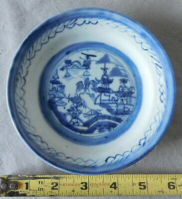Antique China Canton export dessert berry plate dish blue Chinese pagoda 19th c