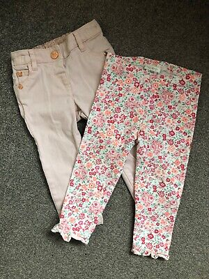 Baby girls lovely Next 9-12 months floral 🌸leggings and pale pink trousers VGC