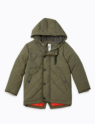 M&S Marks Spencer Baby Boys Quilted Parka Hooded Jacket/Coat Khaki Green BNWT