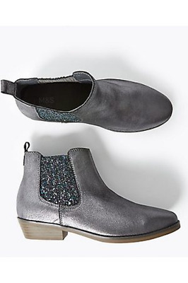 M&S Marks Spencer Girls Metallic Leather Glitter Ankle Boots Pewter Silver BNWT