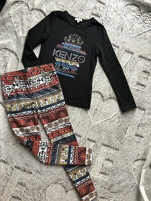 Kenzo Real Designer Set Long Sleeve Top And Pants For Girls Age 6 Years