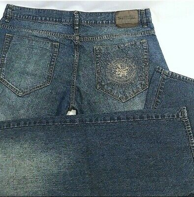 ZOO YORK NYC Button Fly Relaxed Straight Fit US Men's Size 38x32 BLUE