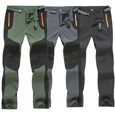 UK Mens Tactical Soft Shell Thermal Trousers Waterproof Cargo Winter Work Pants