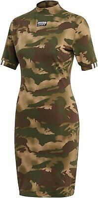 Adidas Originals Women's ALLOVER PRINT TEE DRESS Hemp/Earth Green EC0753 d