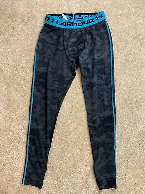 Under Armour Mens Cold Gear Leggings Compression Gray Teal Mens Size Large