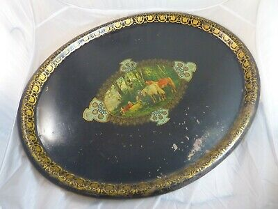 """28"""" Antique 19th C. French Victorian Hand Painted Tole Metal Toleware Oval Tray"""