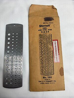 STARRETT DRILL AND STEEL WIRE GAGE No. 186 EDP No. 50676 Range .040 To .228 NOS