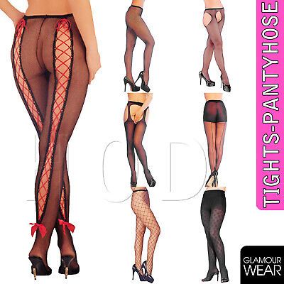 DELUXE Black Patterned Fishnet Tights Ladies Womens Pattern Pantyhose Floral UK