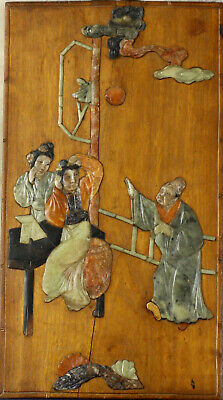 Antique Chinese carved hardstone Inlaid Wood Panel. A Nobleman and his Lady