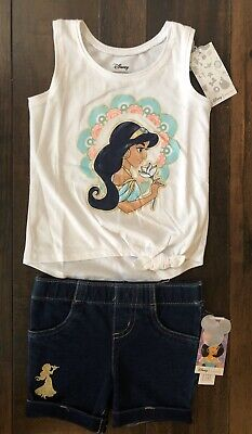 NWT Disney Jumping Beans Jasmine Aladdin Girls Size 2T Outfit Top Shorts Summer