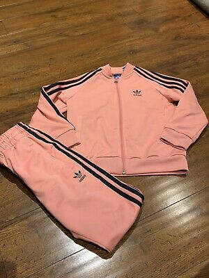 Adidas Girls Pink & Blue Tracksuit - Size 6-7yrs