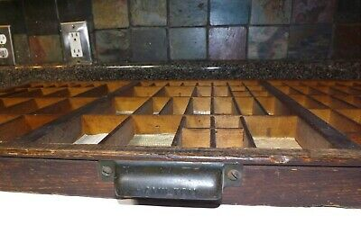 Vtg Hamilton Handle Antique Print Printer Block Wood Drawer Tray Rustic Project